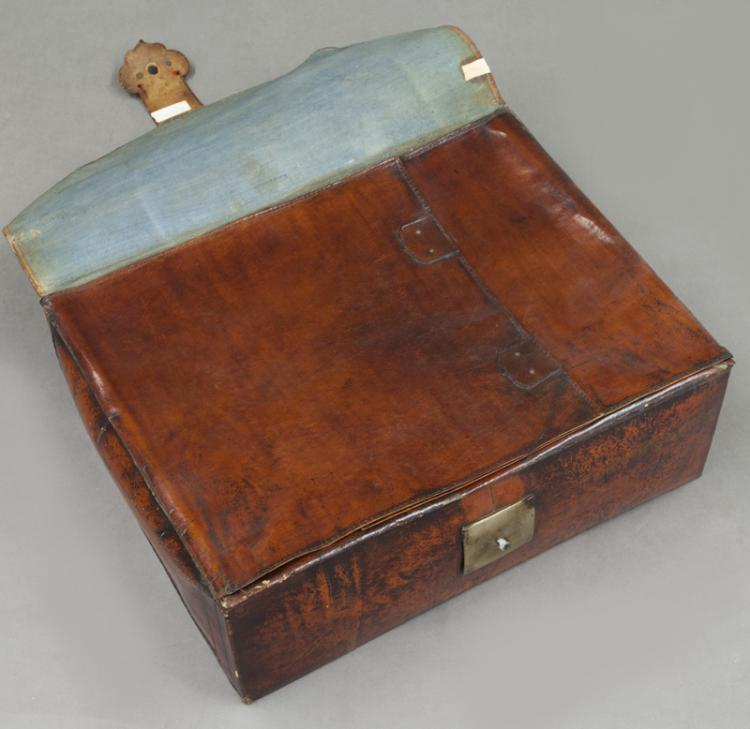 Antique Chinese Scrolls: Late 19th C. Chinese Brown Leather Scroll Box