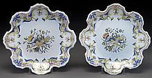 Pr. PB Quimper plates with crenelated rim