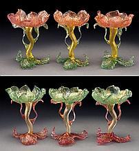 (6) Venetian glass floriform champagne coupes