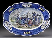 HB Quimper platter with dancing Bretons