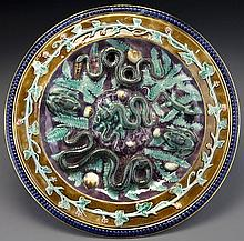 French Palissy ware charger,