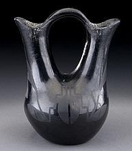 San Ildefenso Marie and Julian blackware vase