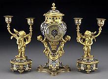 3 pcs. De la Rue gilt bronze and cloisonne clock