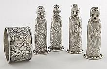 5 Pcs. Chinese Export silver