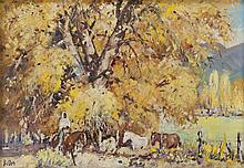 "James Butler, ""Indian on Horseback with Aspens"""