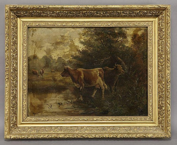 Frederick von Luerzer oil painting on canvas depicting cows in a wooded landscape. Canvas: 18