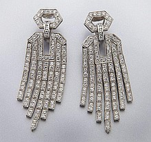 Art Deco style platinum and diamond earrings