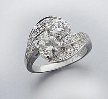 Retro platinum and diamond ring