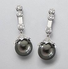 Platinum, diamond and Tahitian pearl drop earrings