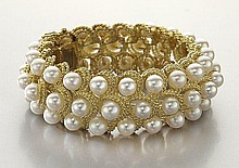 18K gold and cultured pearl bracelet,