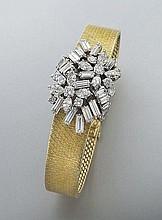 Retro 18K gold and diamond bracelet watch