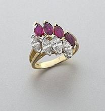 Retro Hammerman Bros. plat., diamond and ruby ring