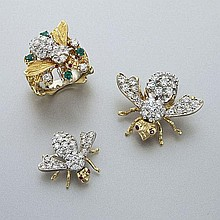 3 Pcs. Rosenthal 18K gold and diamond bee form
