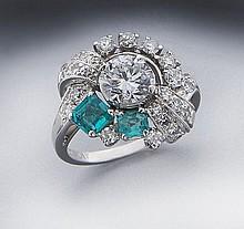 Platinum, diamond (EGL USA) and emerald ring