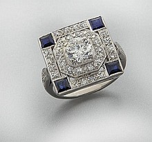 14K gold, diamond (EGL USA) and sapphire ring