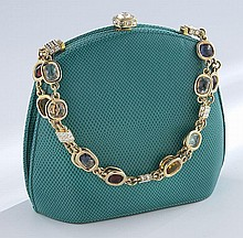 Judith Leiber turquoise lizard skin evening bag