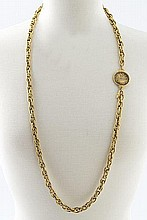 Chanel gold tone link chain necklace with a