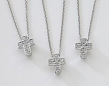 (3) Roberto Coin 18K and diamond cross necklaces