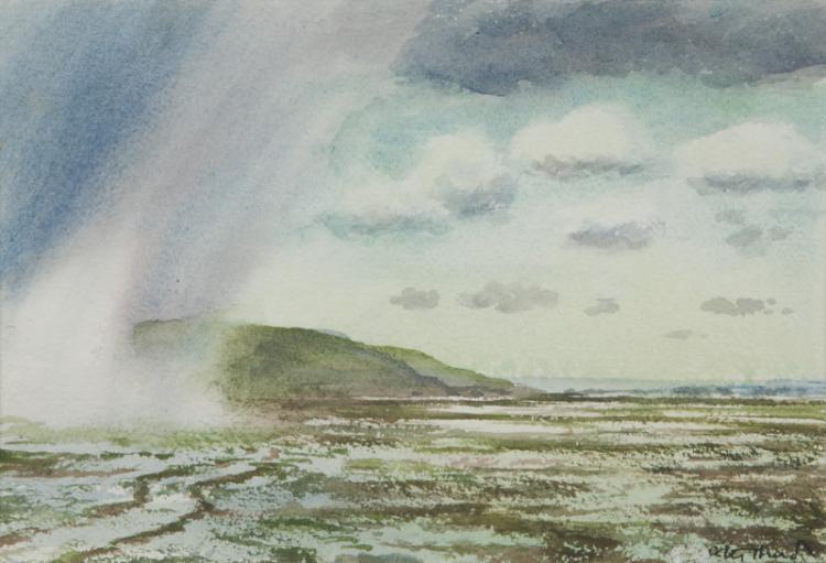 Peter Hurd, u0026quot;A Rainy Dayu0026quot; watercolor on paper.