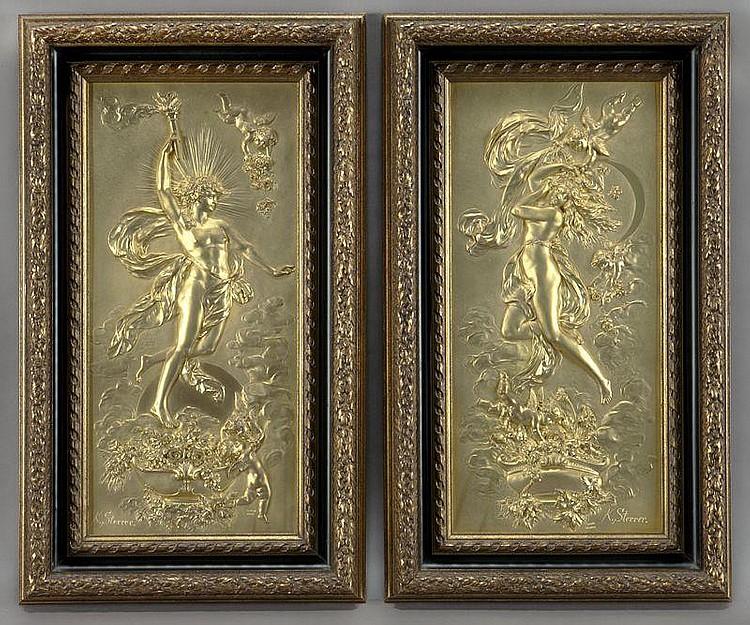 Pr. K. Sterrer Austrian gilt-metal relief plaques