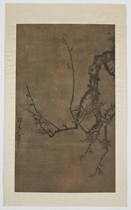 Chinese watercolor on silk attr. to Wu Zhen