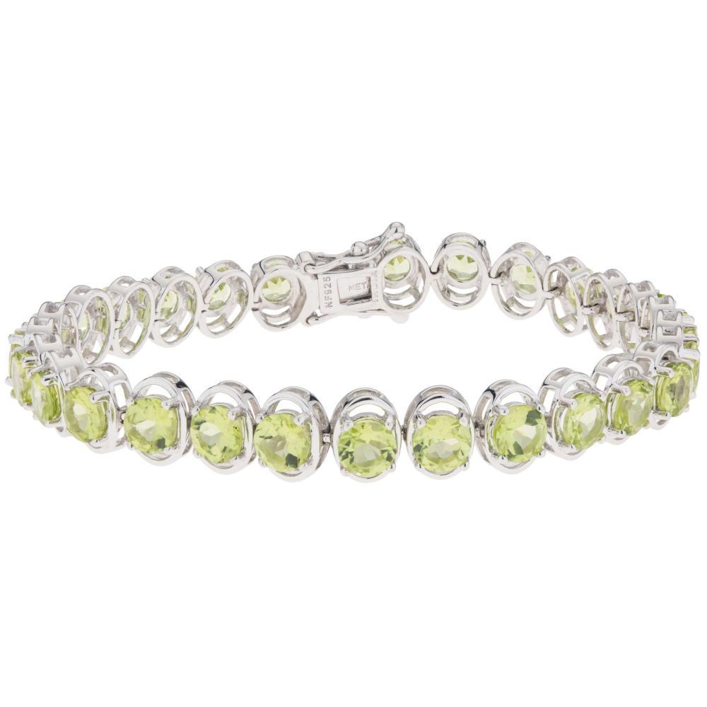 "Silver 13.72ct Peridot Line Bracelet 7.25"""