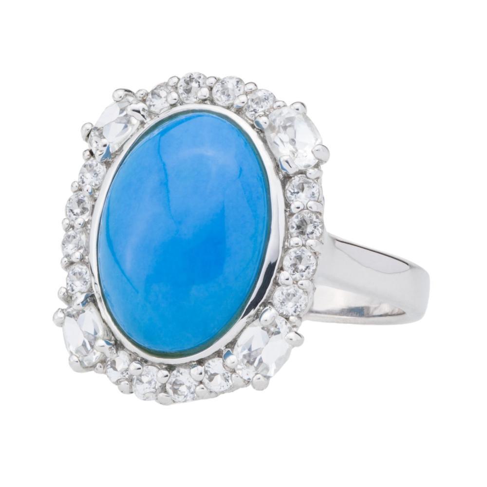 Silver Ceruleite & White Topaz Halo Ring-SZ 8