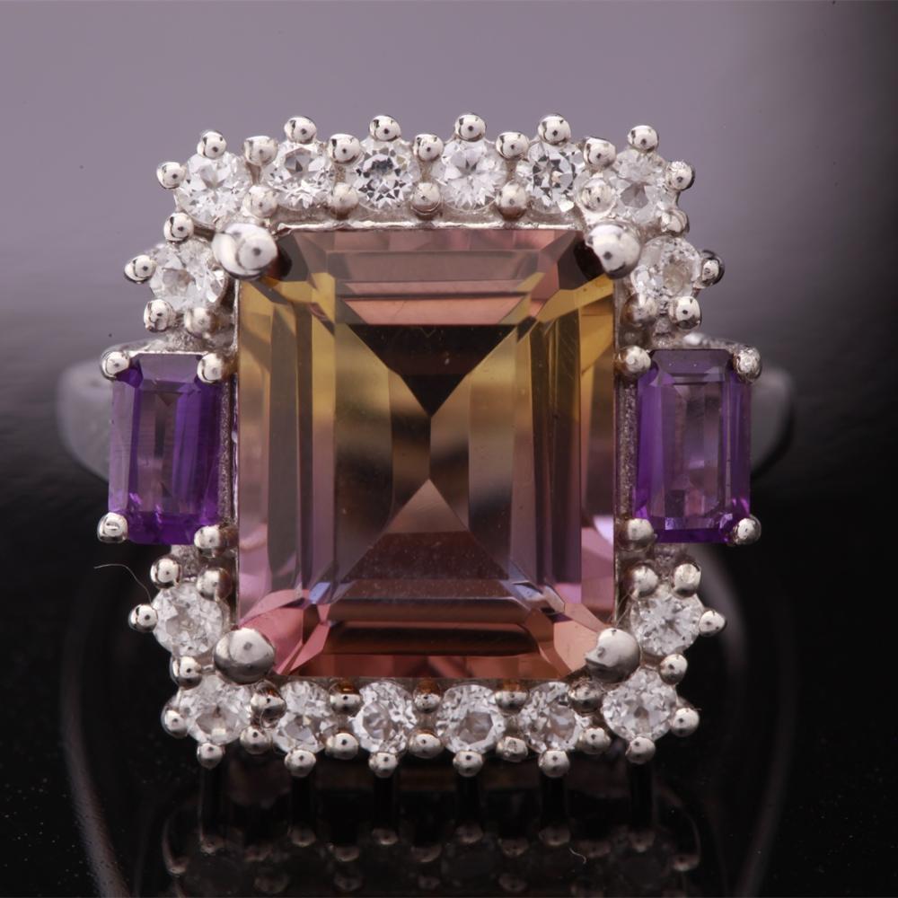 Size 8 Sterling Slv Nano Ametrine & Amethyst Ring