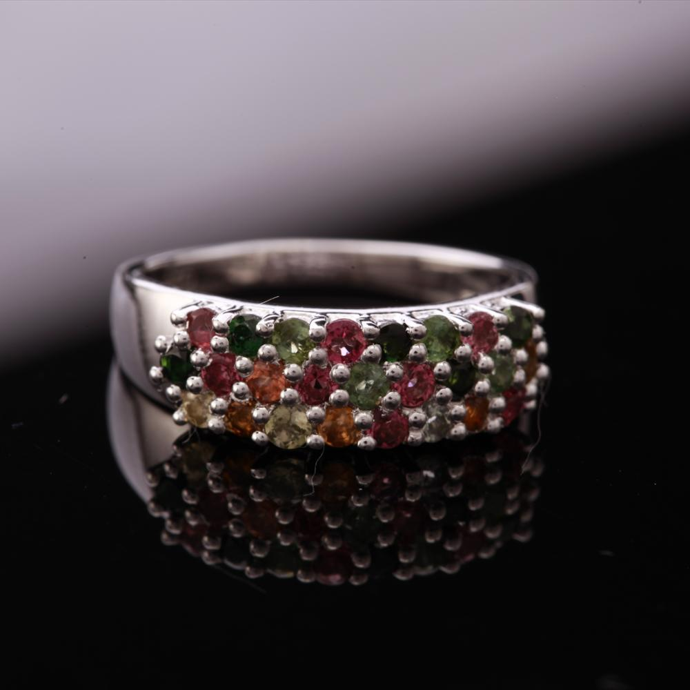Size 8 Sterling Multi Colored Tourmaline Band Ring