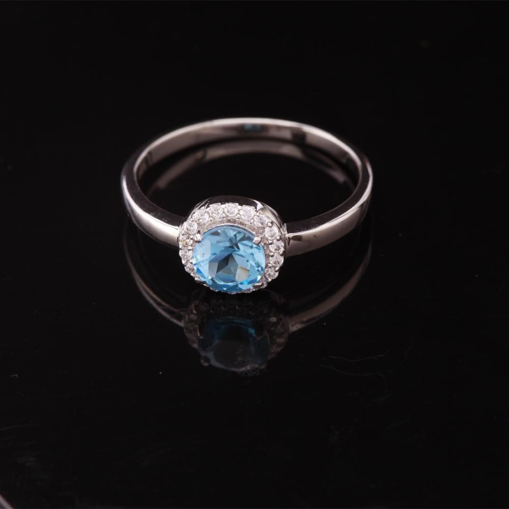 Size 10 Swiss Blue Topaz Sterling Slv Halo Ring