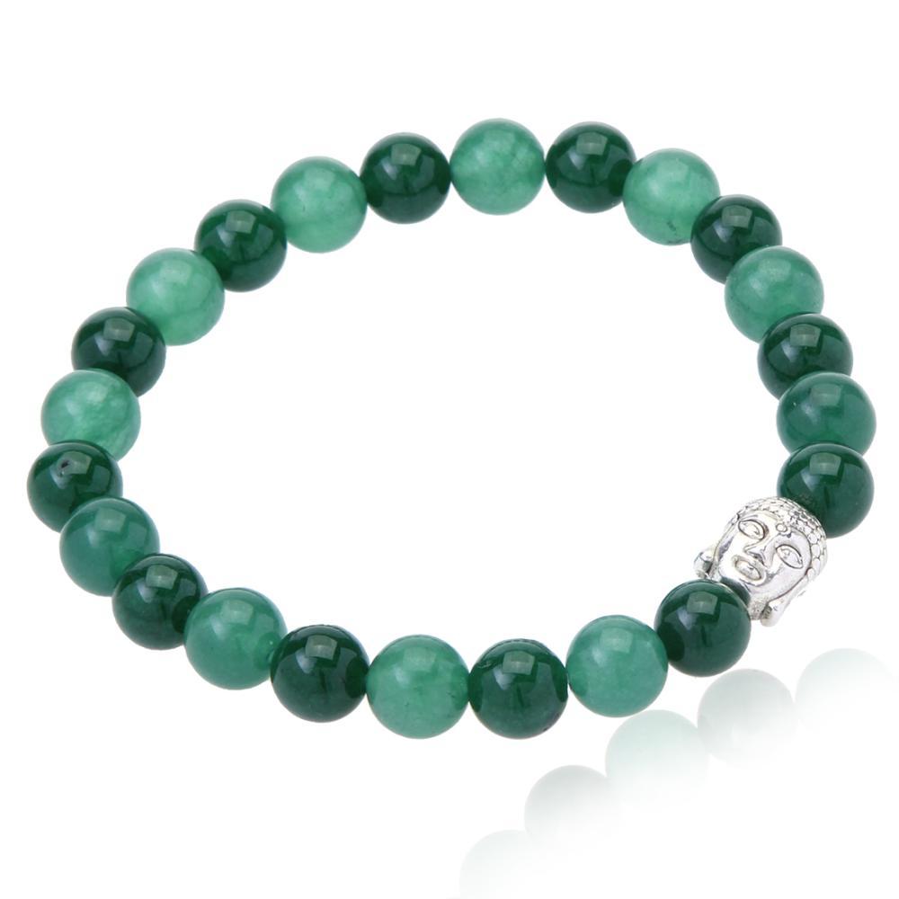 Green Beaded Buddha Head Stretch Bracelet
