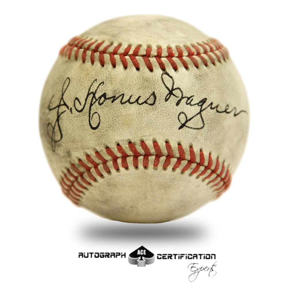 Honus Wagner Signed Red stitched baseball