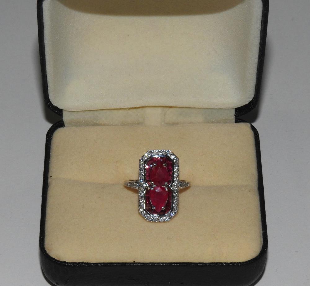 Lot A 14ct White Gold Ruby Diamond Art Deco Style Dress Ring
