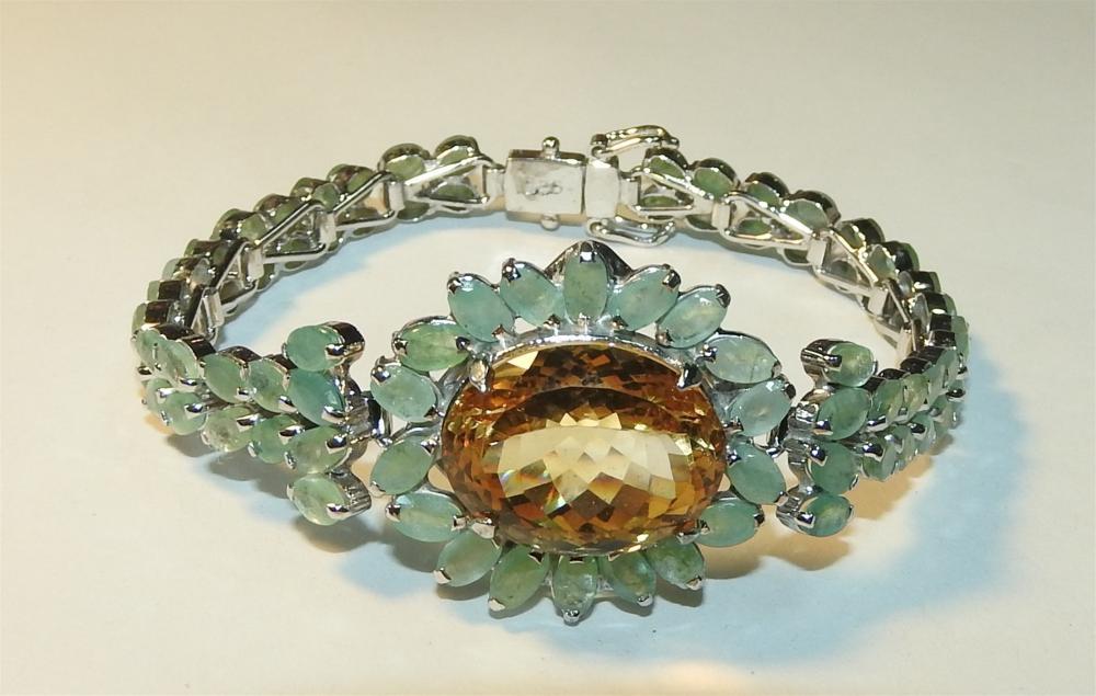 A Citrine & Emerald Feature Bracelet in Silver