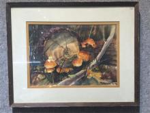 Watercolor of orange mushrooms by Evelyn Carlson