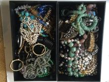 Box Lot -Costume jewelry in 2 trays