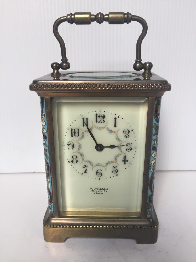 W.Morrell carriage clock with champlevé, c.1900