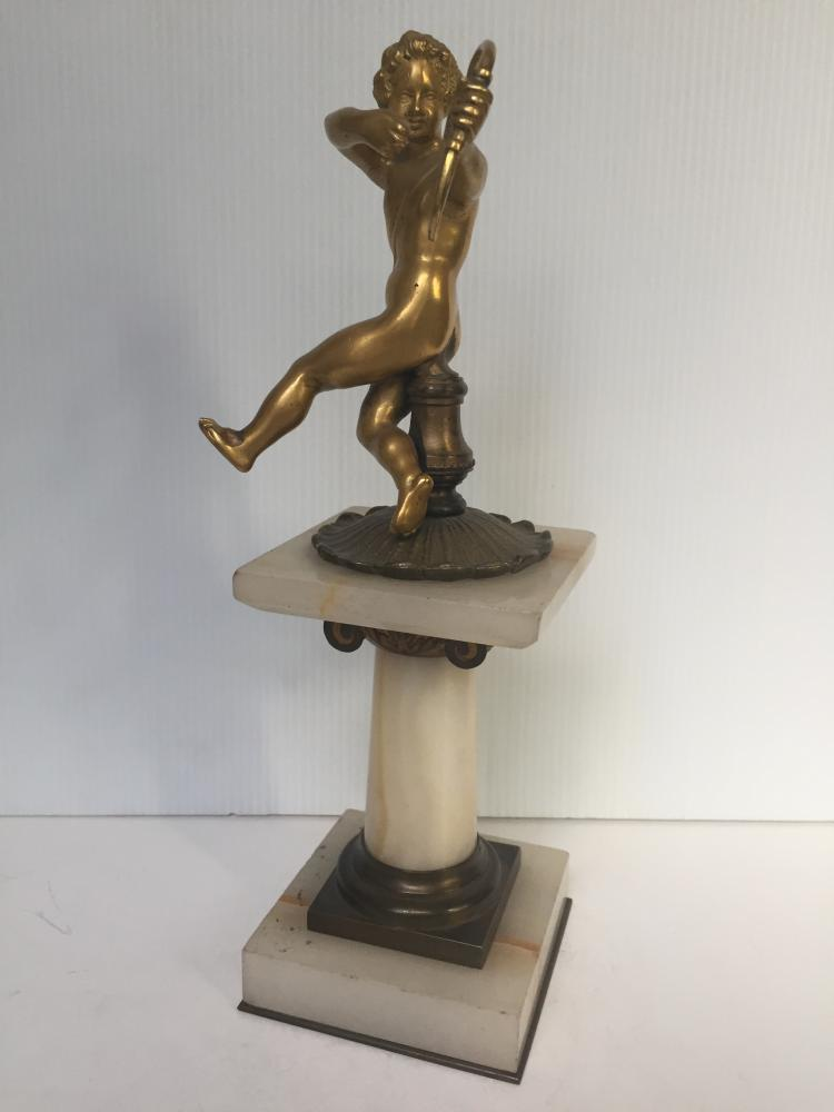 Gilt bronze figure on onyx pedestal, c.1900