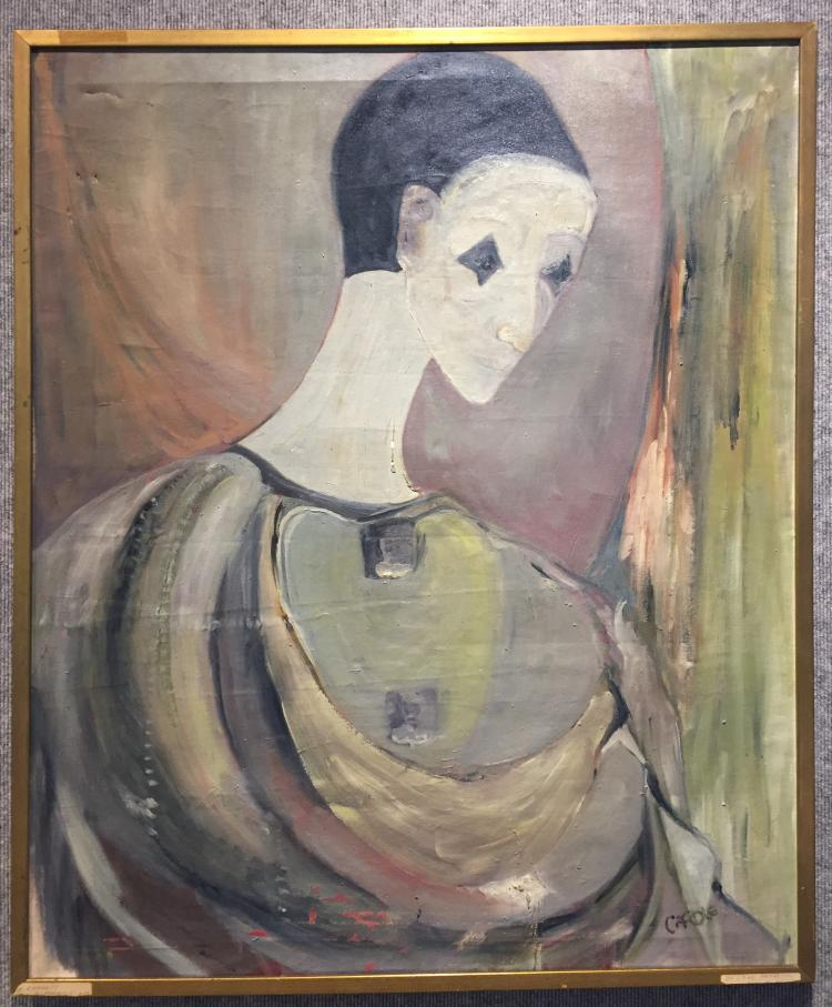 "Large French ptg of a clown signed ""Carole"",c.1950"