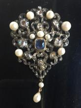 Gold, dia, silver, pearl and sapphire brooch, c.1900
