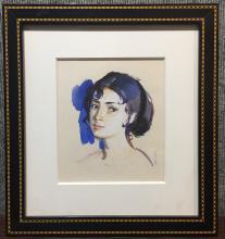 Watercolor of russian girl by Zinaida Serebriakova, Ambassador Estate