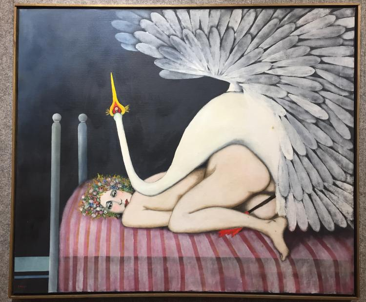 """Leda and the Swan"", painting by Franco Minei"