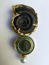 Elizabeth Gage 18k fossil and ancient coin brooch,28.7dwts