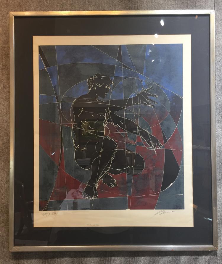 Large print by Hans Erni of Zodiac type figure