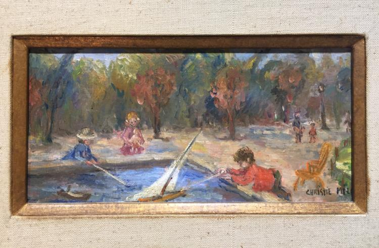 Painting of children in park by Chirstie Milo