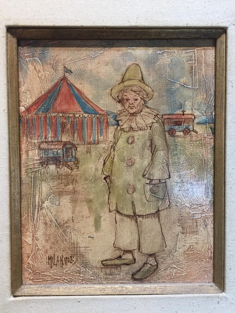Painting of clown by Milan, 1975