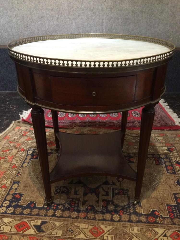 Circular table with white marble top, Ambassador