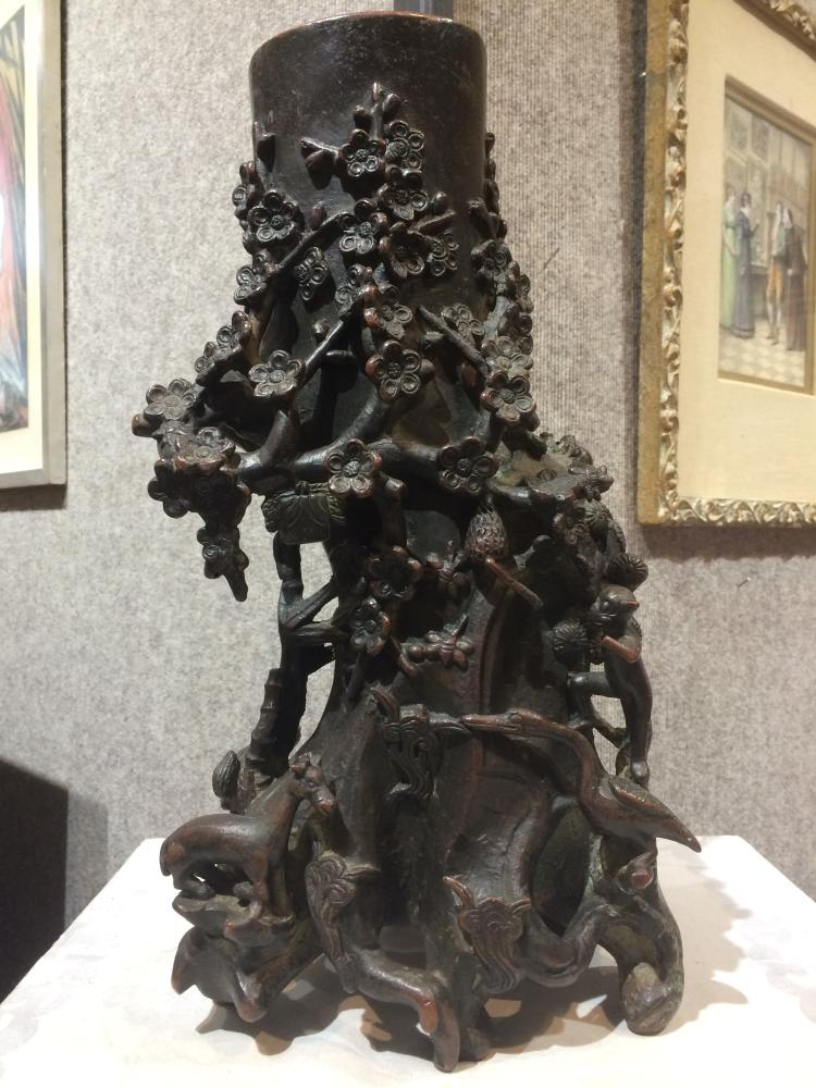 Chinese bronze of mountain, as-is, 19th century