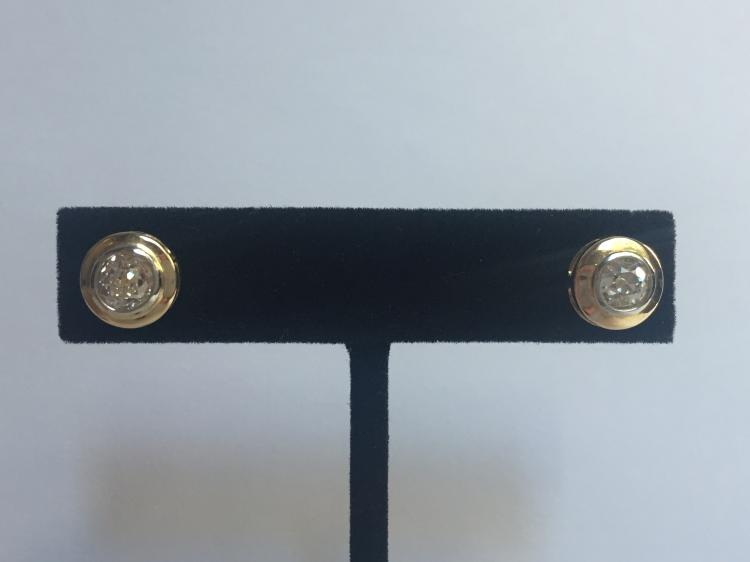 14k diamond stud earrings, .75ct each, 1.50 dwts