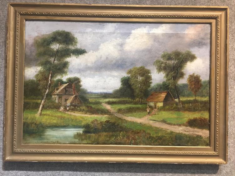 "Pastoral painting, signed ""J.S.Kampson"""